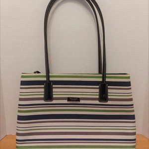 Kate Spade New York Blue Green Brown Striped Purse